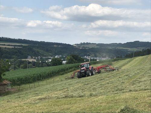 Foto van een Case IH Puma 225 CVX aan het grasharken met een Fella Juras 14055 Pro. Geplaatst door Valtrapowerr op 22-07-2021 om 22:46:41, op TractorFan.nl - de nummer 1 tractor foto website.