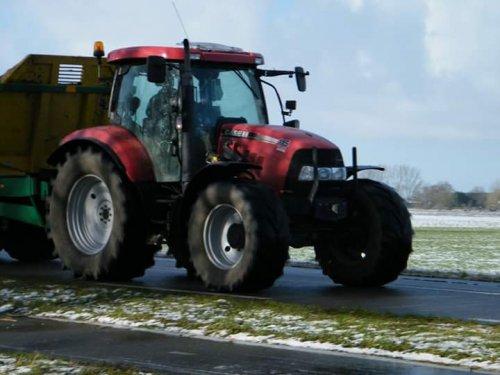 Foto van een Case IH Maxxum 115 Pro, druk bezig met Dumperen.. Geplaatst door johndeerefavo op 01-02-2015 om 15:14:20, op TractorFan.nl - de nummer 1 tractor foto website.