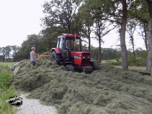 Foto van een Case International 745 XL druk bezig met de 3e snee gras inkuilen!. Geplaatst door Han745XL op 08-10-2019 om 16:20:27, op TractorFan.nl - de nummer 1 tractor foto website.