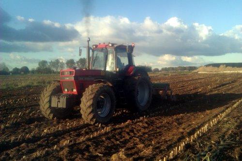 Foto van een Case International 1455 XL, bezig met ploegen / eggen. Geplaatst door hansie op 27-10-2012 om 17:55:23, met 3 reacties.