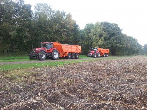 Foto van een Case International Magnum 7230, druk bezig met Aardappels rooien. Met mf 7624 demo. Geplaatst door casepumacvx225 op 24-01-2014 om 22:06:41, op TractorFan.nl - de nummer 1 tractor foto website.