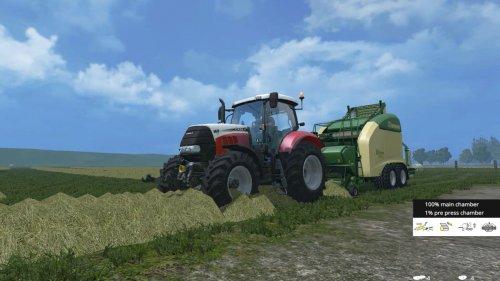 Farming Simulator 2015.  Case Puma III CVX 160 Special aan het balen persen met een Krone Ultima CF 155 XC.