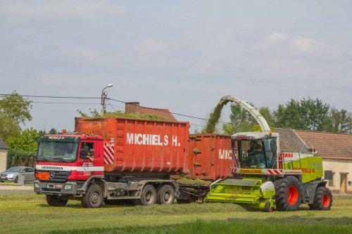 Bij Loonbedrijf Michiels gaan de vrachtwagens tijdens het gras hakselen gewoon mee het perceel op. Naast de oudste hakselaar van het bedrijf een Claas Jaguar 900.