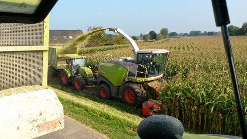 Foto van een Claas Jaguar 840 2014, bezig met maïs hakselen.. Geplaatst door velsje op 05-10-2014 om 19:56:58, op TractorFan.nl - de nummer 1 tractor foto website.