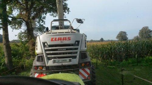 Foto van een Claas Jaguar 840 2014, bezig met maïs hakselen.. Geplaatst door velsje op 05-10-2014 om 19:57:41, op TractorFan.nl - de nummer 1 tractor foto website.