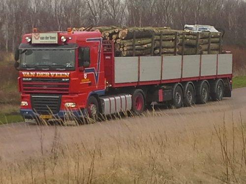 Foto van een DAF XF serie, opgebouwd voor steentransport. Rit Rondhout voor belgie. Van der veen uit Garijp is de transporteur. De kenniskraantjes doen het verrassend goed in het hout.