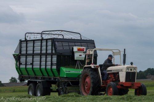 Foto van een David Brown 996.  Deze strakke combinatie van melkveebedrijf v Wijk vers gras aan het oprapen!