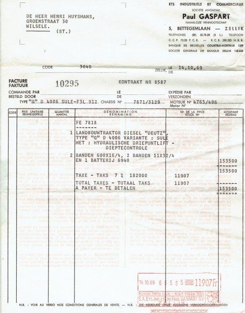 Foto van een Deutz Folder. Afgelopen week is men opa overleden. Tijdens de zoektocht naar zijn trouwboekje en andere nodige documenten, zijn we ook in de doos terecht gekomen waar hij al zijn aankoop bewijzen bewaarde. Het originele factuur van zijn eerste en ook enige trekker.
