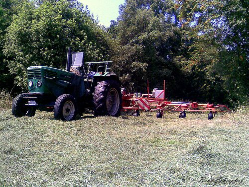 Foto van een Deutz D6806, bezig met gras schudden.. Geplaatst door SkarphofJDFan op 30-06-2009 om 16:39:58, met 2 reacties.