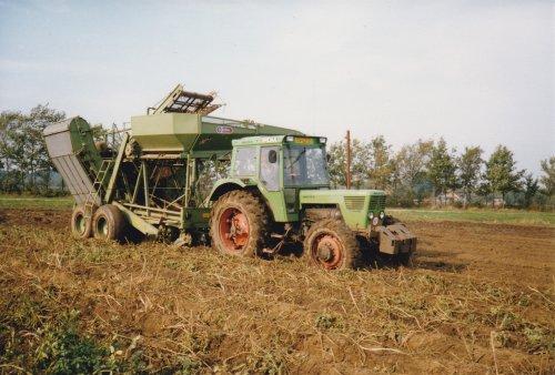Foto van een Deutz D8006, bezig met aardappels rooien met een Sterbo. Geplaatst door bob de bouwer op 15-08-2013 om 18:21:56, met 8 reacties.