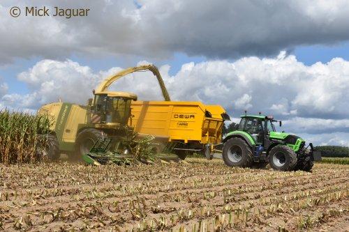 Krone BigX 700 en Deutz-Fahr Agrotron TTV 7250 met DEWA 3-asser silagewagen. Loonwerken T'Jampens uit Vinderhoute.