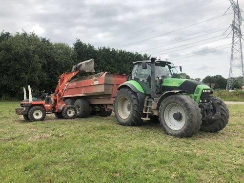 Foto van een Deutz-Fahr Agrotron X 720 met beco dumper. Grond geladen met kubota R520,. Geplaatst door New Kobelco op 09-07-2019 om 15:18:31, op TractorFan.nl - de nummer 1 tractor foto website.