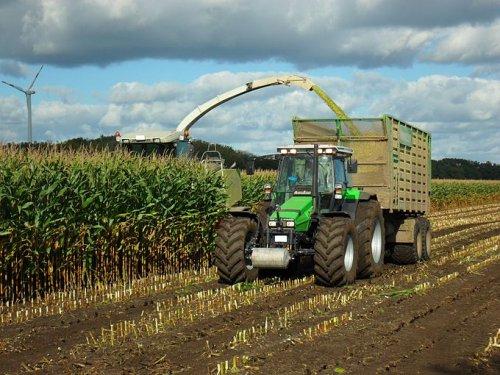 Foto van een Deutz-Fahr Agrostar 6.38, druk bezig met Maïs inkuilen. erg mooi plaatje om te delen  Gevonden op [url=http://de.wikibooks.org/wiki/Traktorenlexikon:_Deutz-Fahr_AgroStar_6.38]Traktorenlexikon[/url]