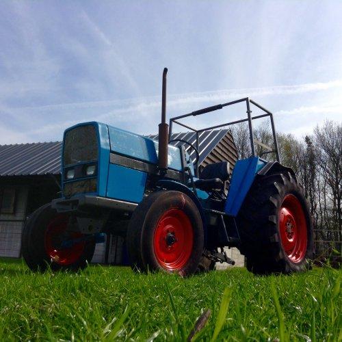 Foto van een Eicher 4048, druk bezig met Poseren. Wachtend in het groene gras voor zijn eerste werkje: Vlakken en meststoffen strooien.