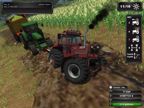 Foto van een Farming Simulator Fiat, bezig met vast zitten.met een dikke beul grome pijp dik geluid en hij komt overal doorheen waar de andere vast komen te zitten