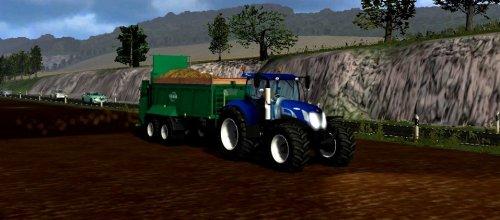 Foto van een Farming Simulator New Holland, bezig met bemesten.  T7070 BP + Tebbe! :). Geplaatst door markhunnekens op 16-07-2012 om 13:51:53, met 9 reacties.