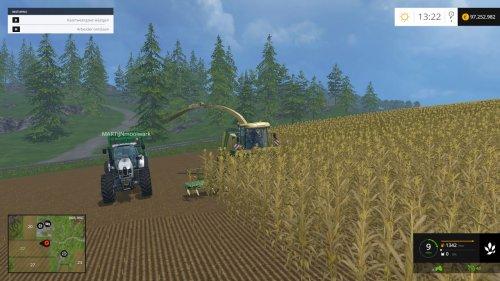 Foto van een Farming Simulator krone, bezig met maïs hakselen.. Geplaatst door JD 6125R op 05-04-2015 om 10:48:07, met 3 reacties.