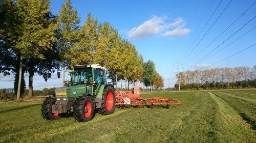 Foto van een Fendt 308 Holland Farmer druk bezig in t stralende najaars zonnetje.. Geplaatst door jesperb op 29-10-2016 om 21:29:59, op TractorFan.nl - de nummer 1 tractor foto website.