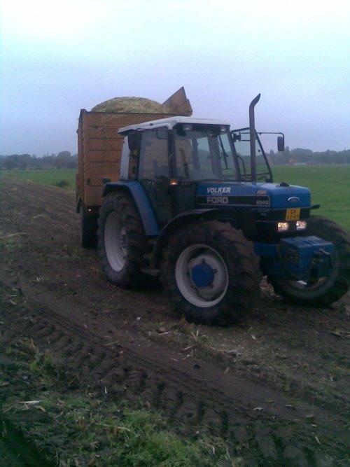 Foto van een Ford 8340, bezig met maïs inkuilen.  Volker BV de Lutte. Geplaatst door Mf-8480-power op 21-01-2010 om 23:25:42, met 6 reacties.