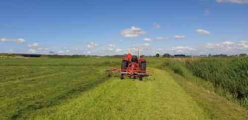International 383 aan het harken met kuhn ga 301. Geplaatst door takeuchi driver op 16-06-2019 om 21:30:58, op TractorFan.nl - de nummer 1 tractor foto website.