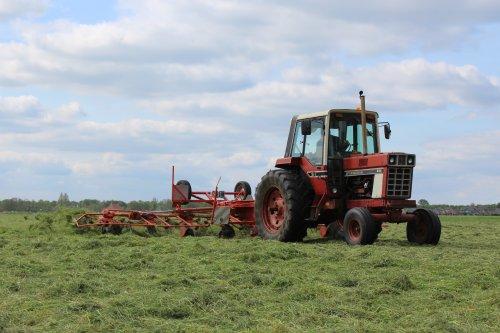 Foto van een International 886 van melkveebedrijf Feikema bezig met gras schudden.. Geplaatst door Claas fan op 04-05-2014 om 19:29:17, met 4 reacties.