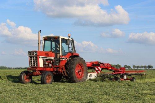 Foto van een International 886 van melkveebedrijf Feikema bezig met gras harken.. Geplaatst door Claas fan op 27-06-2014 om 14:10:36, op TractorFan.nl - de nummer 1 tractor foto website.