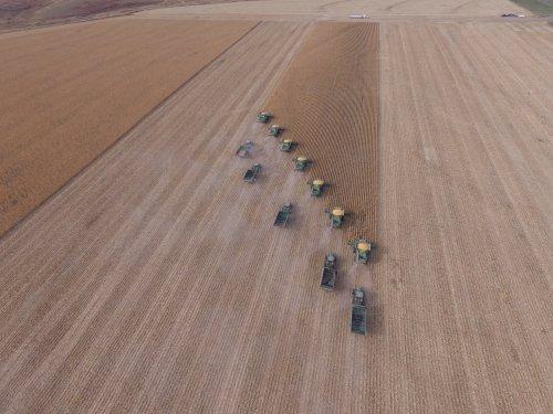 Luchtfoto van Beckley Harvesting uit Colby, Kansas. 7x John Deere 670, 3x 8320R, 2x 8310R. Geplaatst door J0hnDeere7930fan op 08-12-2016 om 20:27:11, op TractorFan.nl - de nummer 1 tractor foto website.