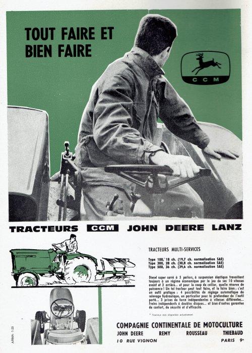 Foto van een John Deere Folder.  reclame uit: La premiere revue technique de l'agriculture moderne. Motorisation Agricole special materiel 1961