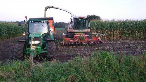 Loonbedrijf Jan Rauw uit Achterberg aan het maishakselen, met Claas Jaguar 890 en John Deere 6330.. Geplaatst door utwenters op 17-09-2019 om 22:17:12, op TractorFan.nl - de nummer 1 tractor foto website.