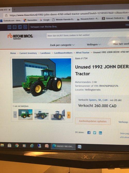 Foto van een John Deere 4760. Geplaatst door JD 62 op 30-10-2020 om 08:31:06, met 127 reacties.
