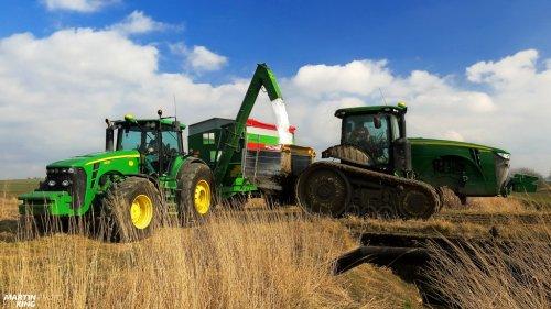 JOHN DEERE 8360 RT (NEW machine) + Bogballe M3W Plus fertilizer spreader JOHN DEERE 8530 + Bergmann GTW   video you can follow here: https://www.youtube.com/watch?v=1Ik5Kw6ExY0