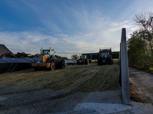 Foto van een John Deere 6215R mais aan het inkuilen. Met een liebherr en john deere 7530 op de kuil.