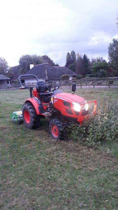 Foto van een KIOTI CK2810 aan het maaien met een peruzzo fox 1600. Geplaatst door David-B op 08-03-2020 om 20:11:04, op TractorFan.nl - de nummer 1 tractor foto website.