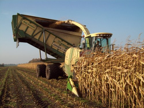 Foto van een Krone BIG X cargo, bezig met maïs hakselen.. Geplaatst door sluuter op 02-11-2011 om 19:38:35, met 2 reacties.