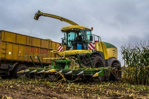 Krone Big X 580 bij loonbedrijf Van Eijck uit het Nederlandse Alphen, bezig met maïs hakselen.. Geplaatst door FerreV op 07-02-2014 om 16:19:42, op TractorFan.nl - de nummer 1 tractor foto website.