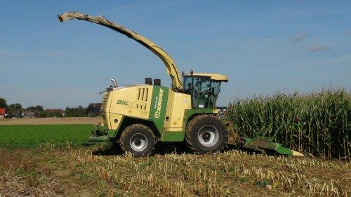 Foto van een Krone Big X 1100, bezig met maïs hakselen. Maïs 2011 Lu Coenen uit Elmpt(D).. Geplaatst door klompie1978 op 10-03-2015 om 19:26:17, op TractorFan.nl - de nummer 1 tractor foto website.