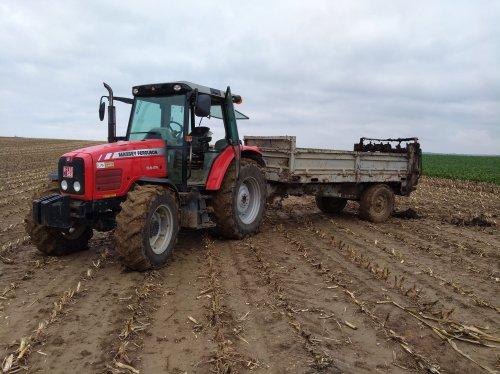 Foto van een Massey Ferguson 5445 met een Legrand mestverspreider. Geplaatst door Theuny op 05-10-2019 om 12:33:22, op TractorFan.nl - de nummer 1 tractor foto website.