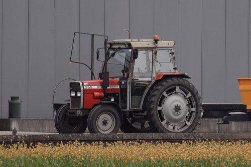 Foto van een Massey Ferguson 355 poseren bij de dealer. Geplaatst door warmerbros op 12-04-2020 om 23:15:29, op TractorFan.nl - de nummer 1 tractor foto website.