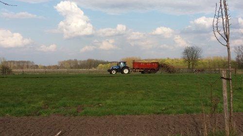Foto van een New Holland T 6030 Plus bezig met vast mest openrijden met een record S1200  Met deze wagen is ie braafjes ;D