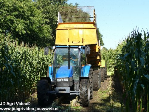 Foto van een New Holland 5635, melkveebedrijf Wajer uit Hulshorst aan het mais hakselen. ZIE OOK DE VIDEO  https://youtu.be/orCdXqSng_s