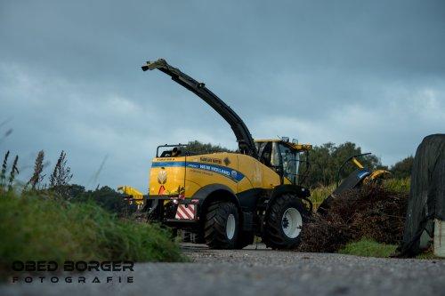 Loonbedrijf Nijmeijer - Kuipers hakselt dit jaar met een nieuwe New Holland FR 650. De 10 rijer maïs bek is vorig jaar nieuw gekomen.  Obed Borger Fotografie www.obedborger.nl