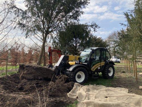 Foto van een New Holland TH7.42 Verreiker met nu 70 uren op de teller. Bezig Taxus bomen uit doen.. Geplaatst door New Kobelco op 25-03-2021 om 20:03:44, op TractorFan.nl - de nummer 1 tractor foto website.