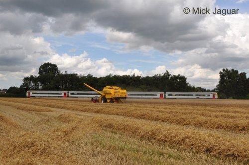 New Holland TX 65, bezig met maaidorsen terwijl de trein passeert :-) Sproei- en loonwerken Kristof Willems uit Evergem (B)