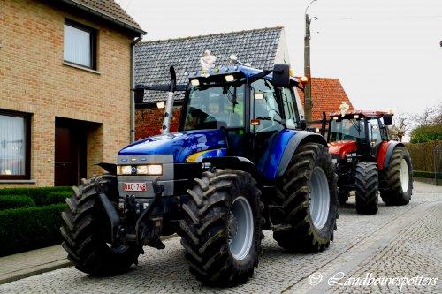 Foto van een New Holland TM 140, bezig met poseren. Tractorwijding Kaster 24/3. Geplaatst door tractorfreek op 24-03-2013 om 19:52:25, met 7 reacties.