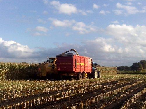 Foto van een New Holland T 7520, bezig met maïs hakselen.. Geplaatst door arno1234 op 29-10-2013 om 15:20:20, op TractorFan.nl - de nummer 1 tractor foto website.