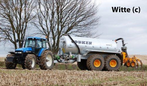 De schitterende NH TM 165 Ultra van veeboer Guilikers uit Epen. Deze trekker heeft al z'n pk's nodig hier in de Zuid-Limburgse heuvels. (2008)