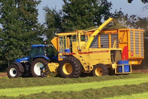 Foto van een New Holland 2405, bezig met gras hakselen. Nooyen en Boxmeer, sept. 2005. Geplaatst door Martin Holland op 21-11-2013 om 08:44:30, op TractorFan.nl - de nummer 1 tractor foto website.