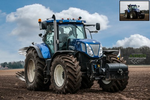 New Holland T 7.270, poseren op de kopakker, voor en na bewerken :P   Akkerbouwbedrijf Roost - Hunsel (Nl)