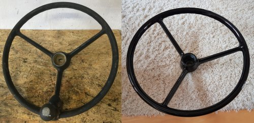 Picture of a ZF Gemmer GD28a steering wheel before and after the restauration.. Geplaatst door otto-normalverbraucher op 22-12-2018 om 15:55:49, met 11 reacties.
