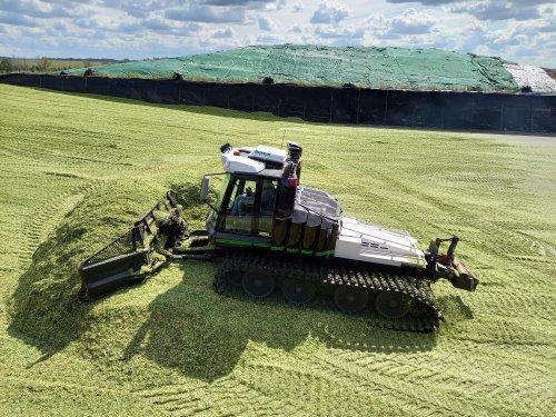 Foto van een Pistenbully 600 die mais aan het weg schuiven is.. Geplaatst door trekkerfan16a op 27-10-2020 om 16:22:19, met 6 reacties.